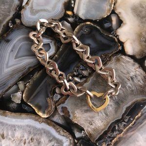 Tiffany's Sterling & Gold Heart Link Bracelet